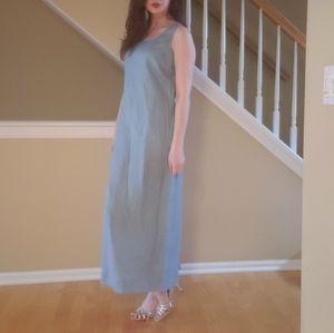 Flowy Eddie Bauher linen light blue dress Size 8